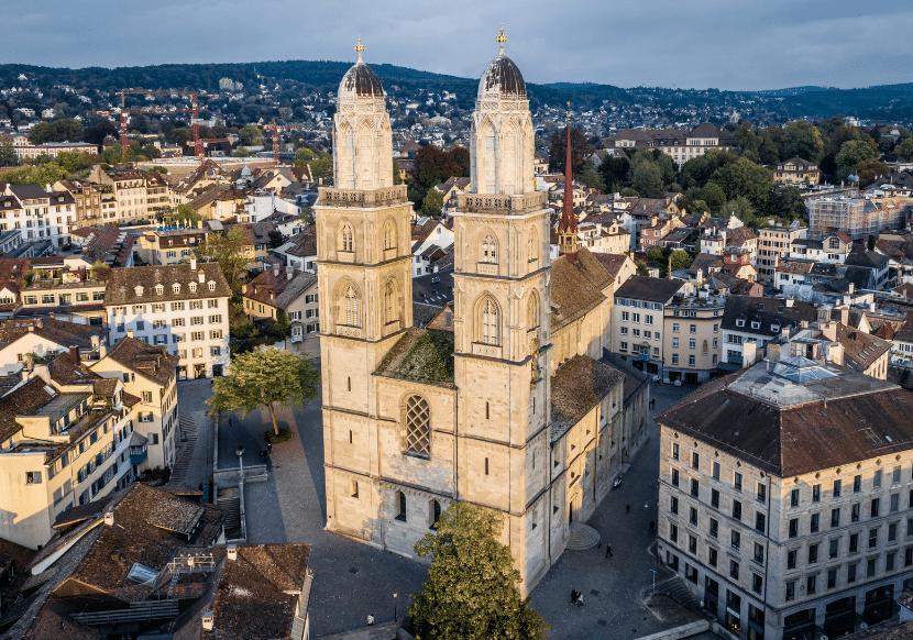 Birds-eye view of Grossmunster church in Zurich