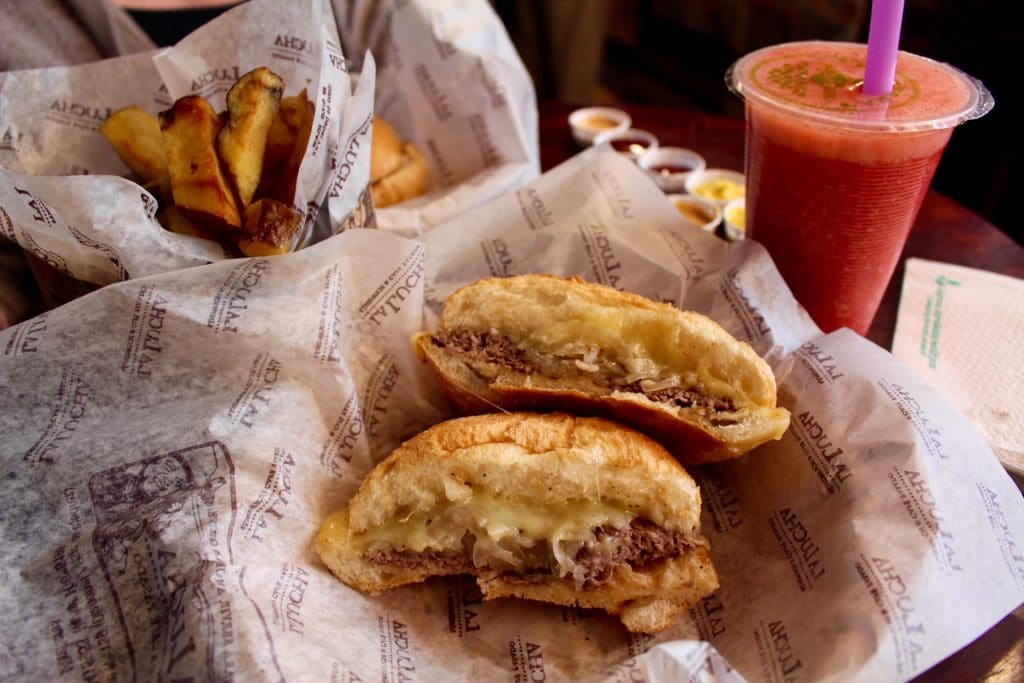 Popular local food in Lima - sandwiches, potatoes, and freshly squeezed juices. A must try during for lunch during your quick trip in Lima.