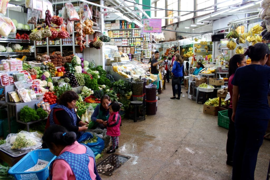 Busy and colorful market in Surquillo, Lima. This market is worth a visit for an authentic experience during your 24-hour visit in Lima.