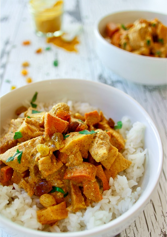 My Signature Indian Chicken Curry with Carrots, Sweet Potatoes & Raisins