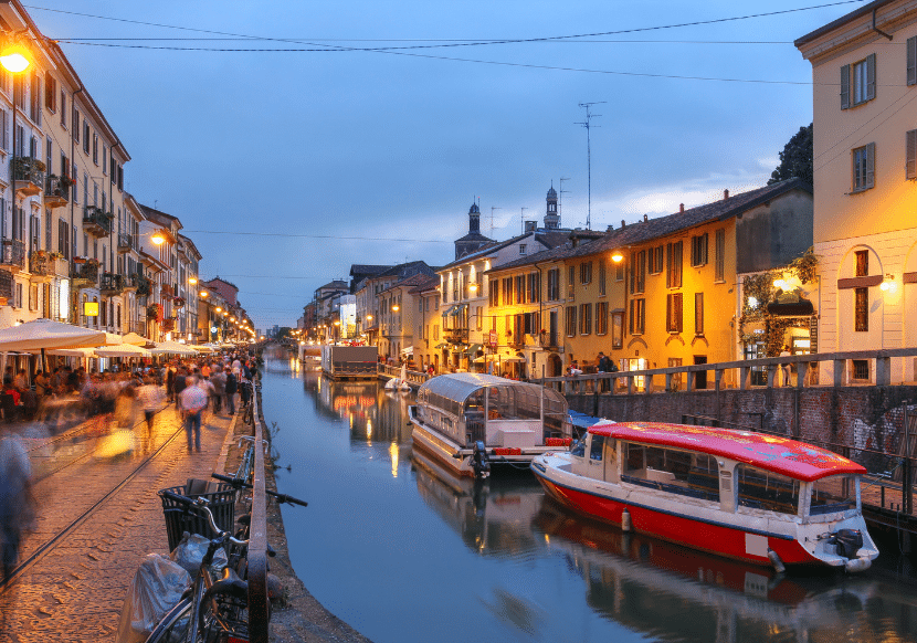 The Navigli District is a hidden gem in Milan, full of beautiful canals, boats, bars, and restaurants. It is a must-visit during your 24 hours in Milan.