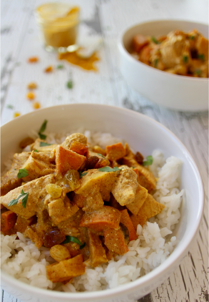 If you've been searching for the ultimate curry recipe, then look no further. This Indian chicken curry recipe is spicy, rich, and creamy, featuring bursts of sweetness from golden raisins, sweet potatoes, and carrots. Coconut milk makes the dish rich and creamy, meanwhile the curry powder and cayenne turn up the heat. This is my very own version of delicious curry, and it's best served over rice with some freshly baked naan! I hope you love this recipe. Enjoy!