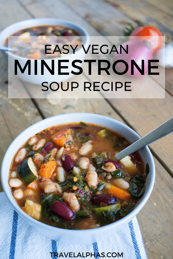This recipe for classic vegan minestrone soup is packed with nutrients and so delicious. It's easy to make and full of flavor, featuring fresh veggies, herbs, red wine, nutritional yeast, and more. | Easy minestrone soup recipe | Vegan minestrone soup recipe | Healthy minestrone soup recipe | Vegetarian minestrone soup recipe | Italian Minestrone recipe | Easy Minestrone recipe | Best Minestrone Recipe | Minestrone recipe no pasta | Veggie minestrone | Gluten free minestrone | Minestrone with kale |
