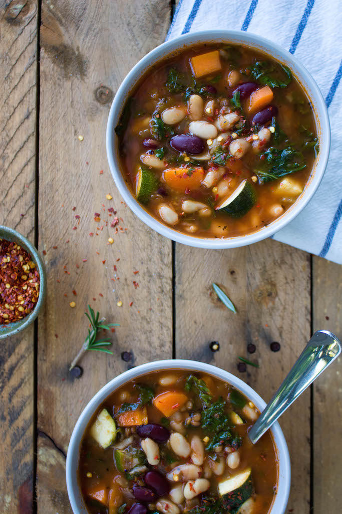 This recipe for classic vegan minestrone soup is packed with nutrients and so delicious. It's easy to make and full of flavor, featuring fresh veggies, herbs, red wine, nutritional yeast, and more.