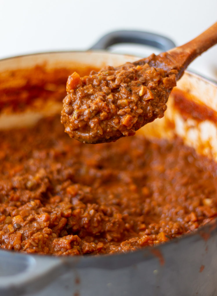 This is the best vegan bolognese recipe with lentils, mushrooms, and walnuts. Perfect for making vegan pasta bolognese, vegan lasagna, and more!