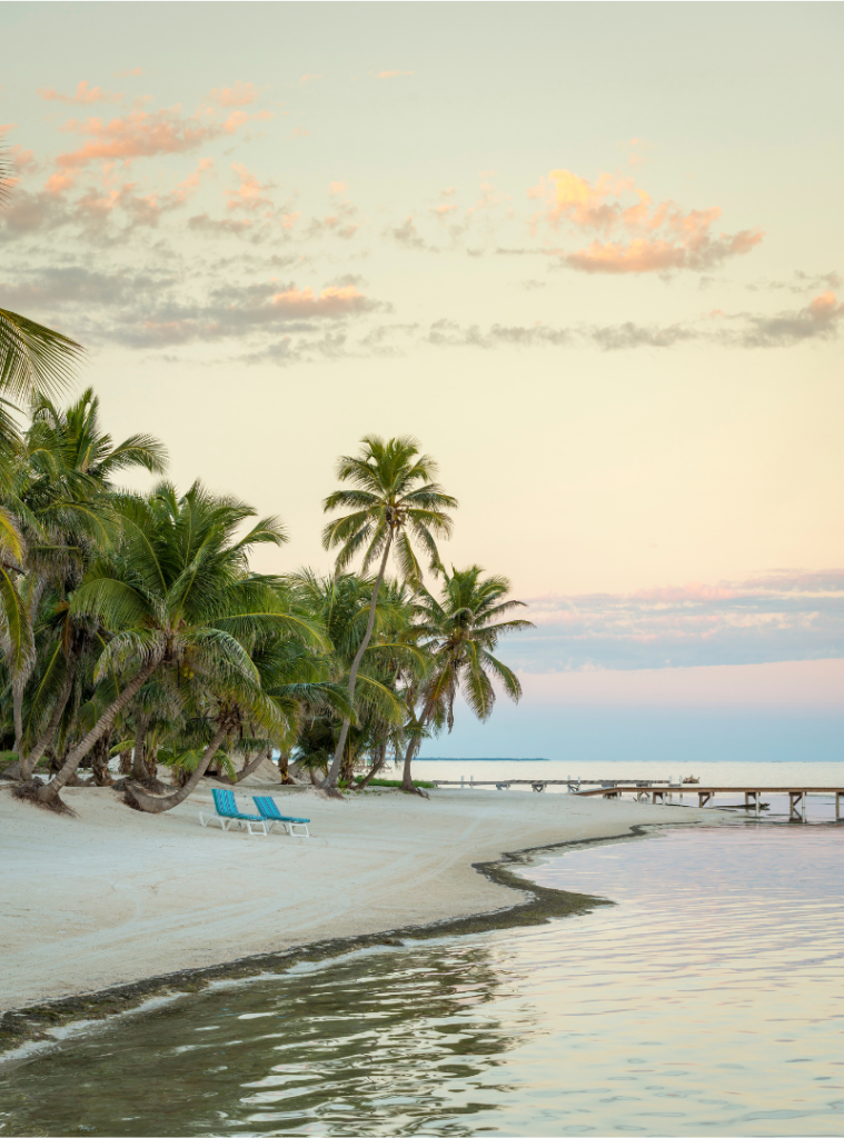The beaches in Belize are beautiful.