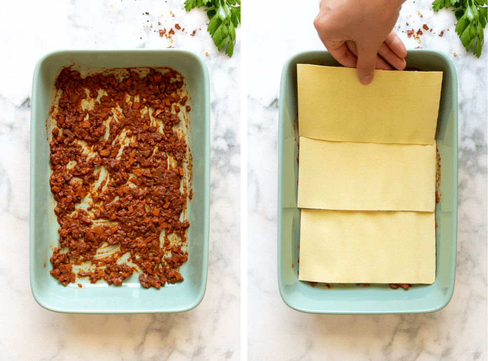 This is the first step in layering the vegetable lasagna with bolognese sauce.