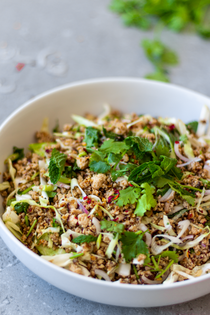 This is the best, most authentic recipe for vegan larb, ever! This larb is made with shiitake muushrooms and crumbled tofu. It's packed with texture and the flavors of lime, chili, toasted sticky rice, lemongrass, and fresh herbs. It's probably the greatest salad ever created - and that is no exaggeration.)