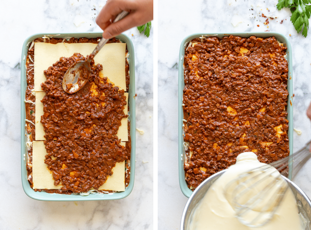 This is the third step in layering the vegetable lasagna.
