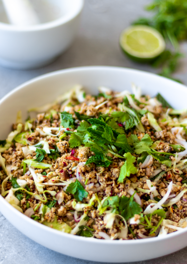 Authentic Vegan Larb Salad with Mushrooms & Tofu