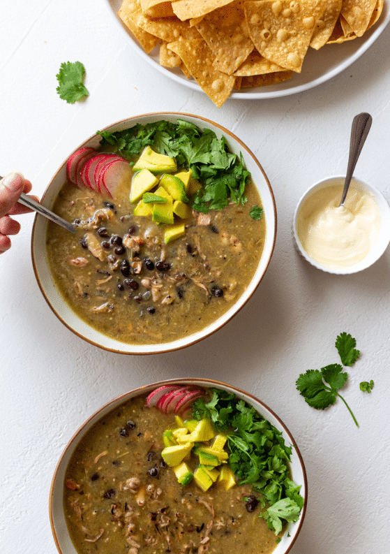 Roasted Tomatillo, Black Bean & Pulled Jackfruit Soup