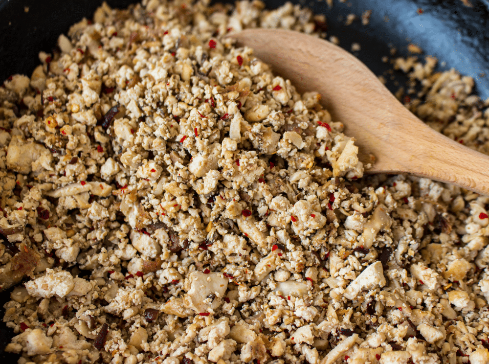 The tofu and mushrooms for the vegetarian larb.