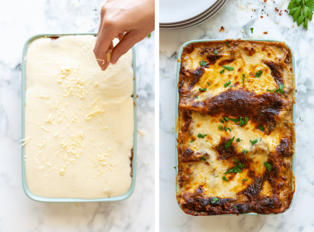 This is the last step of layering the lasagna. It's a before and after shot of the vegetarian lasagna bolognese.