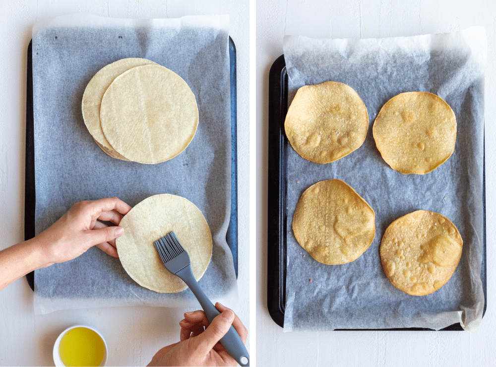 Baking corn tortillas to make baked tostada shells