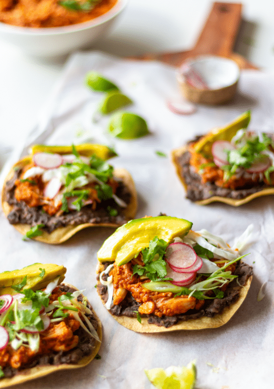 Smoky Jackfruit Tinga Tostadas with Refried Beans