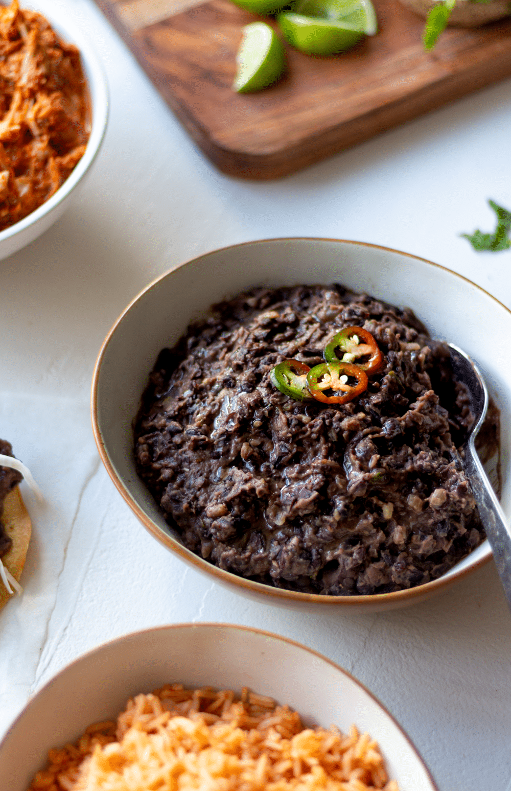 This recipe for 20-minute, easy refried black beans is hard to beat. Packed with the flavors of garlic, onion, and jalapeño, these black beans are the perfect addition to every Mexican-inspired meal. (You'd never expect they're canned beans!)
