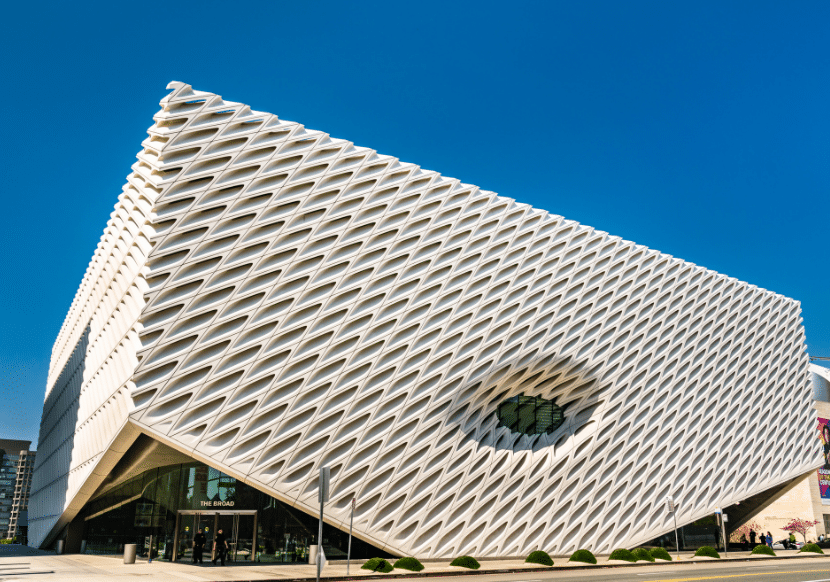 the exterior of the Broad museum in LA