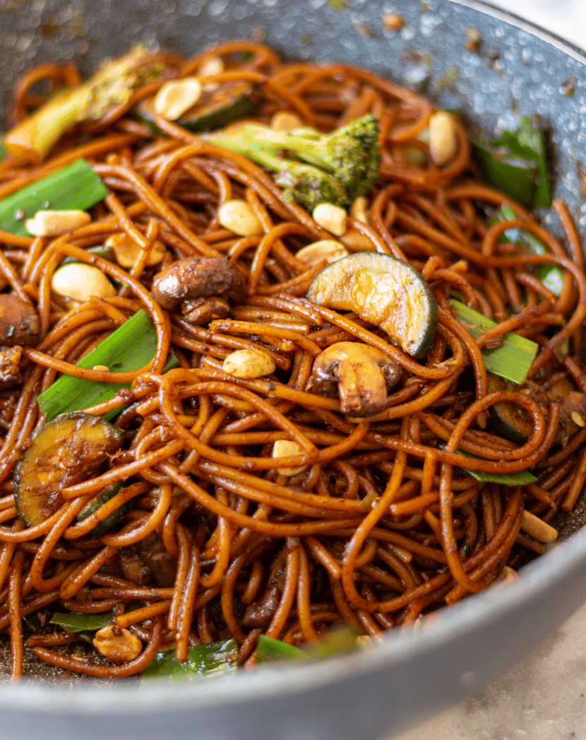 Stir-fried Kung Pao Noodles with Veggies made in a wok in just 30 mins