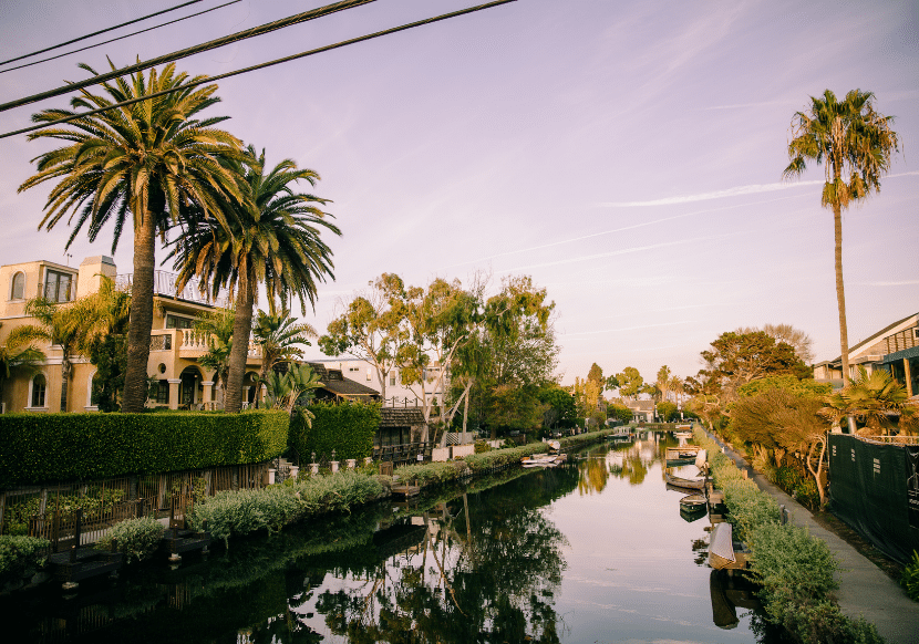 canals at sunset in venice beach, california