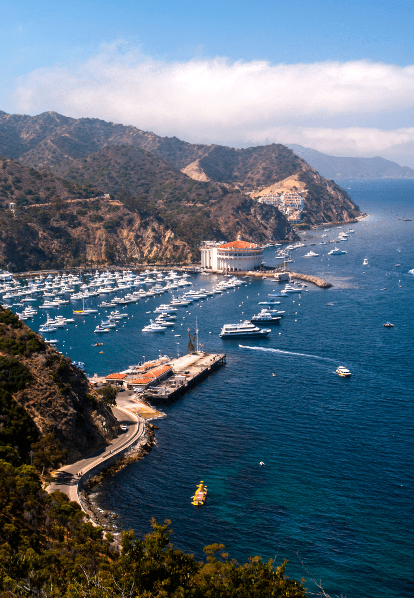 The deep blue water bay in Avalon, Catalina Island full of boats and yachts. Snorkeling and exploring nature at Catalina Island is a must on your California bucket list!