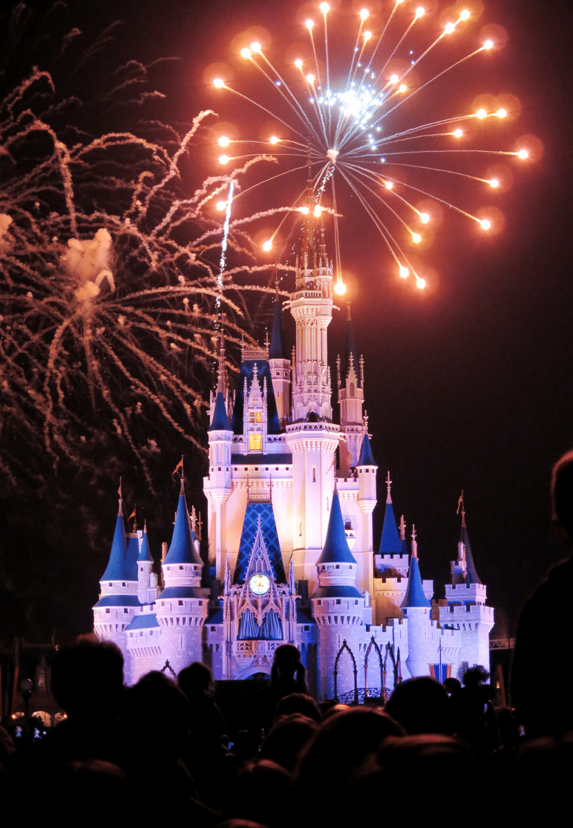 the Disney castle and fireworks at Disneyland in California. A must-see thing to do in California and a must on your California bucket list!