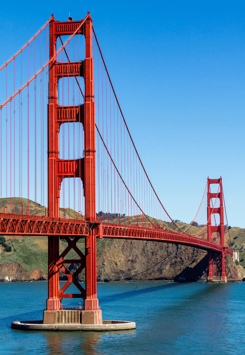 the golden gate bridge and glistening sea water in San Francisco