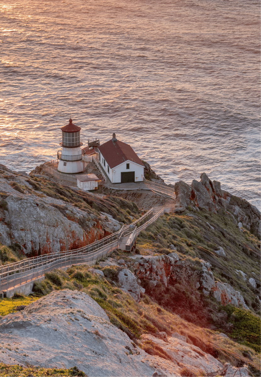 the point reyes lighthouse in california at sunset