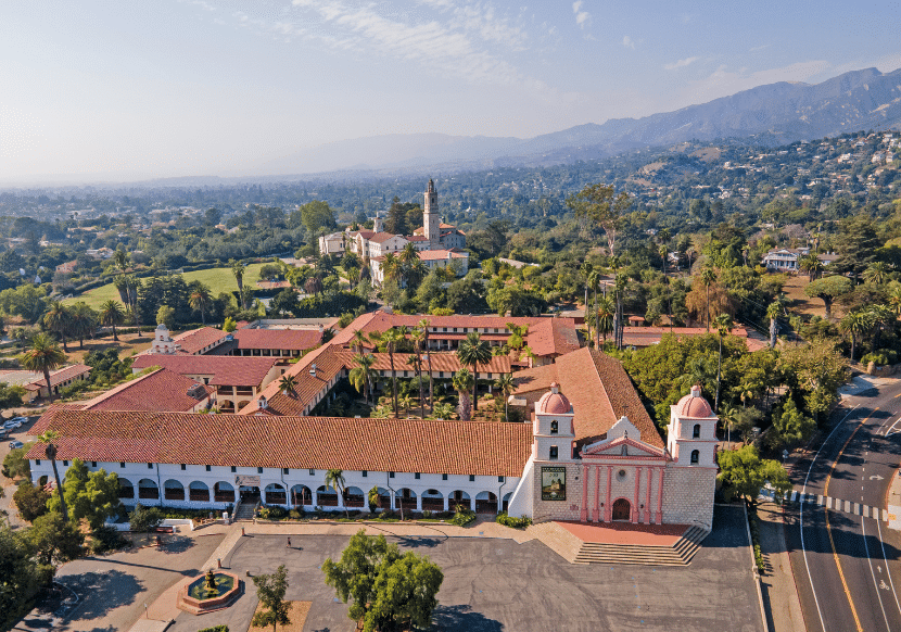 Aerial view of the Santa Barbara Mission, a must on your California Bucket List.