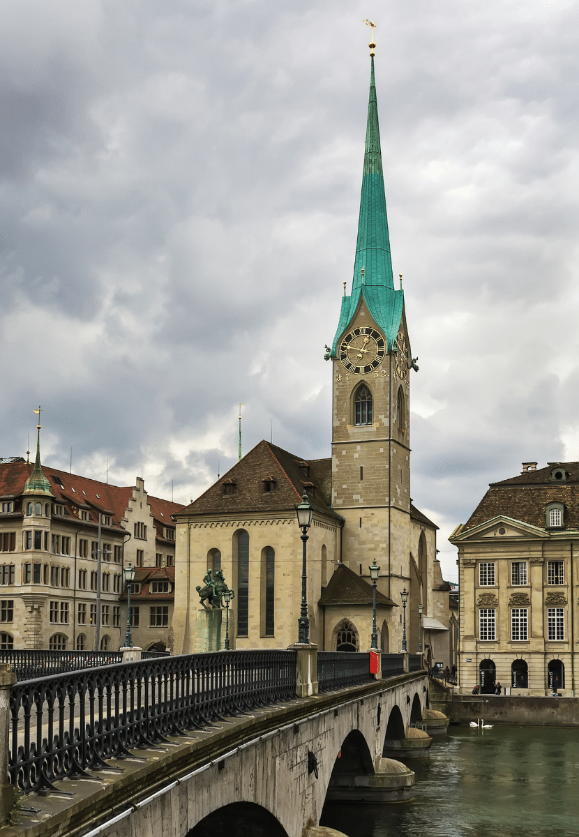 Fraumunster church in Zurich and the bridge across the lake