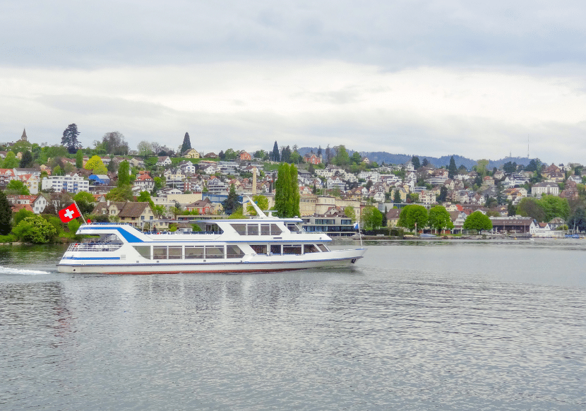 Boat cruising on Lake Zurich, a great thing to add to your itinerary if you have two days in Zurich