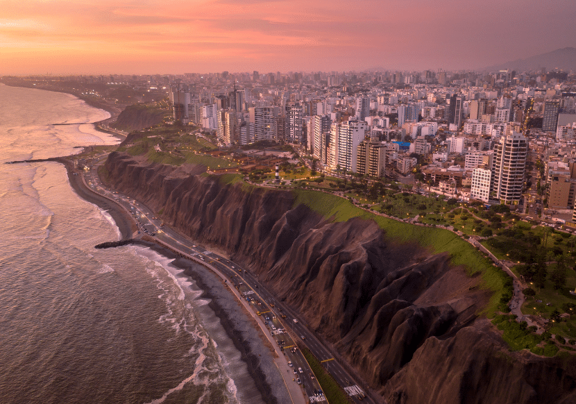 The Miraflores boardwalk and skyscraper buildings in Lima. A must see during your trip to Lima.