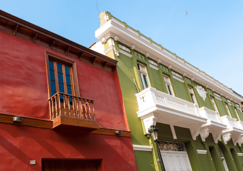 The colorful colonial architecture in the Historic Center in Lima is a can't-miss for first-time visitors in Peru.