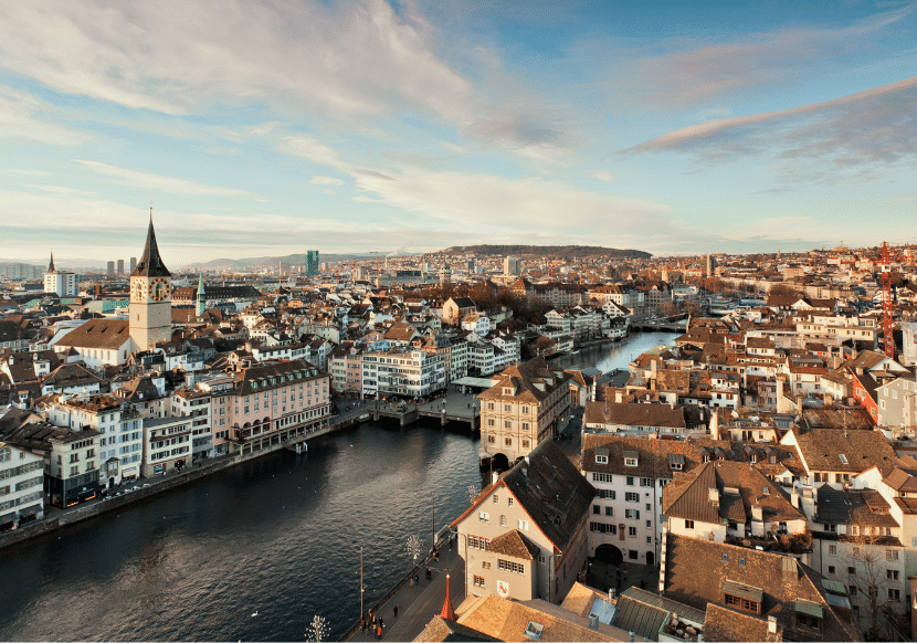 Birds-eye view of the Limmat River and Zurich city