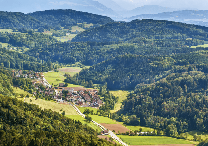 View of the mountains around Zurich from Uetliburg Mountain