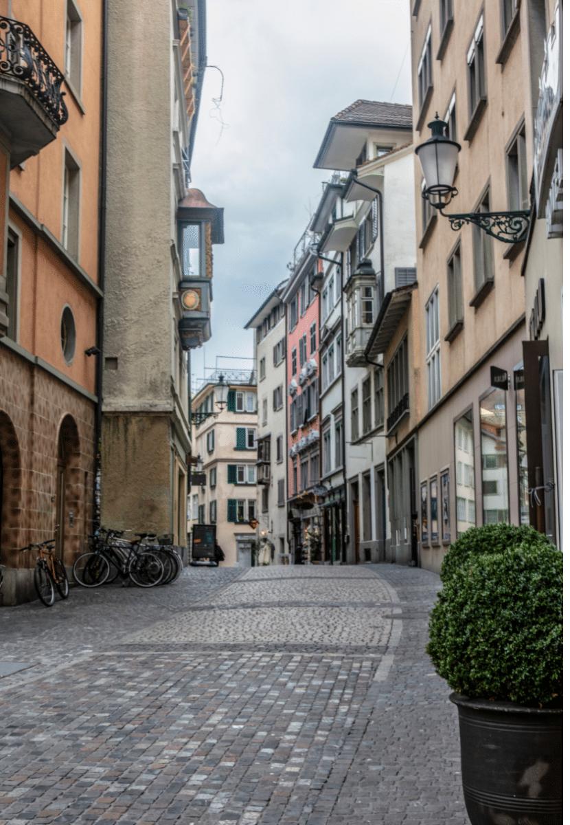 Cobblestone street in Old Town Zurich