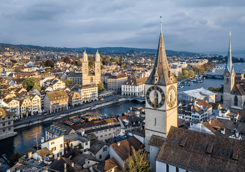 birds-eye view of Zurich and the Limmat River