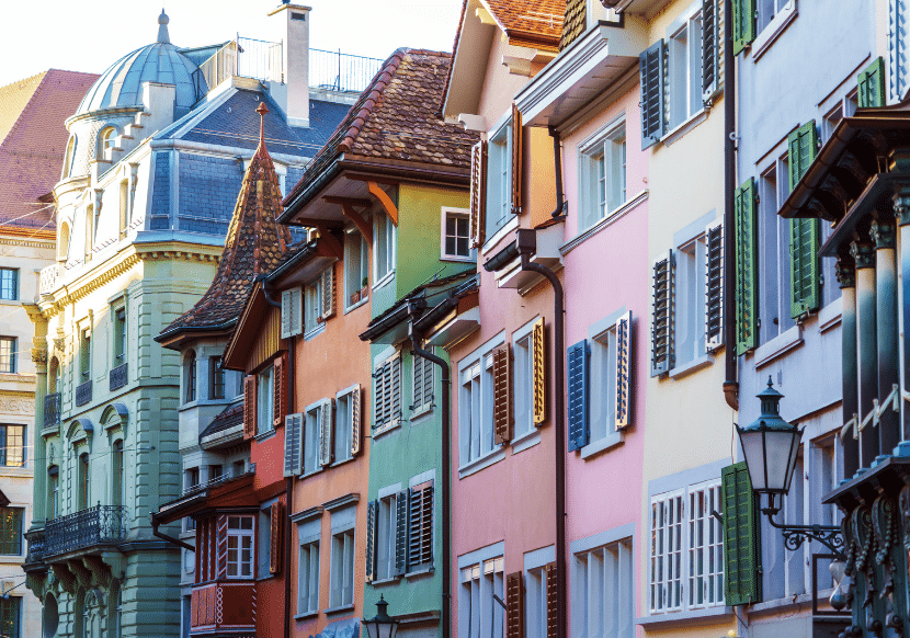 Colorful building façades and shutters in Old Town Zurich
