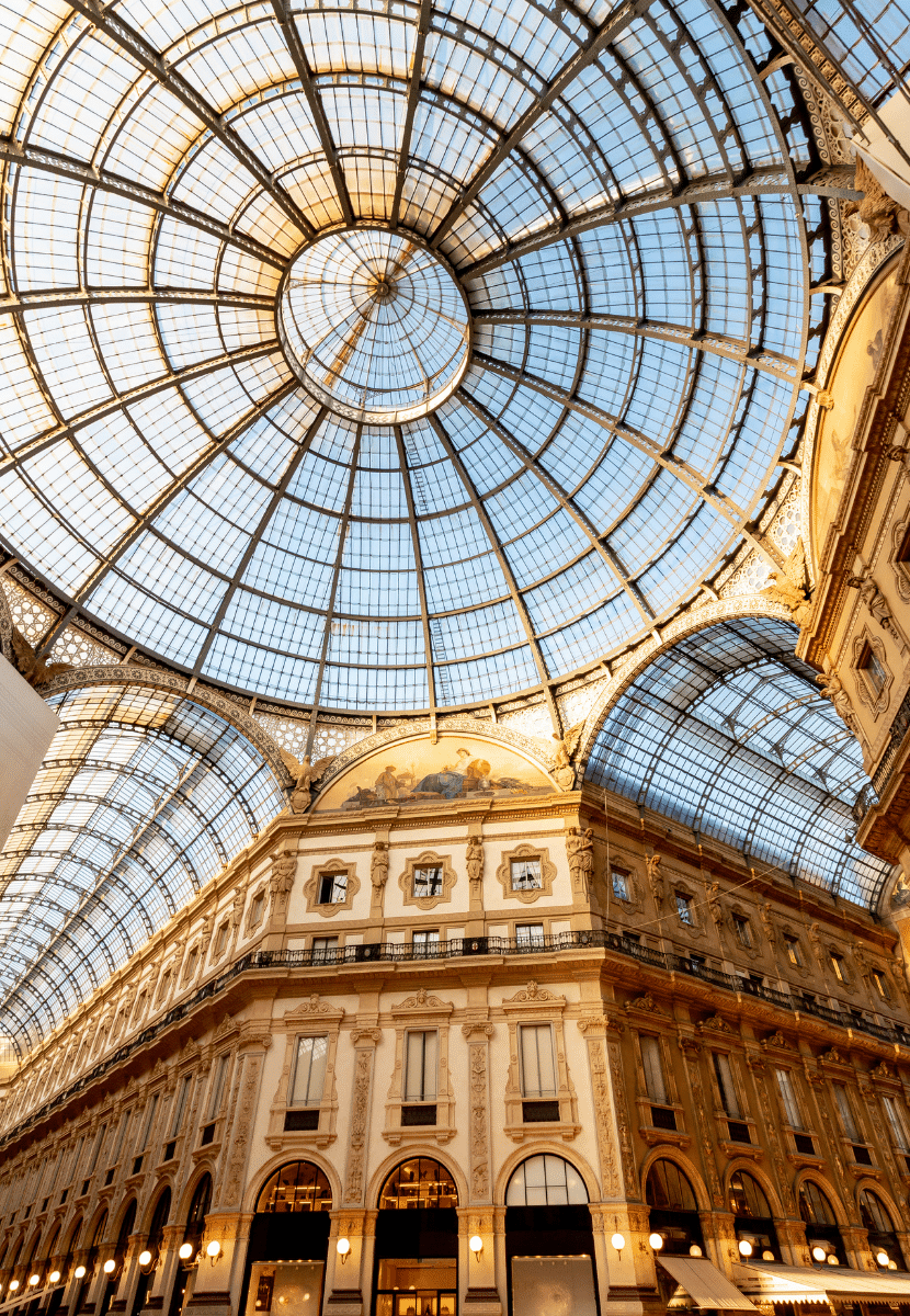 The inside of the luxurious Galleria Vittorio Emanuele II shopping mall in Milan. A must see during your 24 hours in Milan.