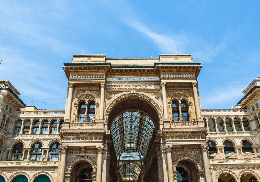 The outside facade of the luxurious Galleria Vittorio Emanuele II shopping mall in Milan.