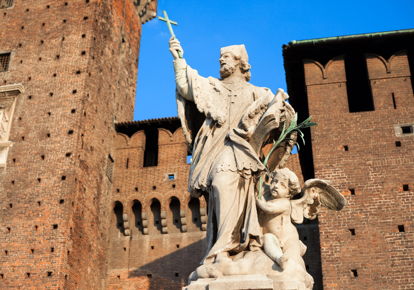 The Castello Sforzesco is one of the must-visit places in Milan. This is one of the main religious statues inside the castle.